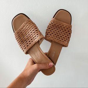 KIM ROGERS   Vintage Tan Rattan Leather Woven Crochet Mule Sandals Sz 8